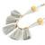 Boho Style Glass Beaded Pom Pom, Tassel Long Necklace In Light Grey - 90cm L - view 4