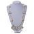 Boho Style Glass Beaded Pom Pom, Tassel Long Necklace In Light Grey - 90cm L - view 2