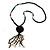 Black Wood, Glass, Sea Shell, Tree Seed Bead with Pom Pom Tassel Long Necklace - 80cm L/ 16cm Tassel