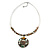 White Glass Bead Wire Necklace with Shell & Mother of Pearl Medallion In Silver Tone - 50cm L/ 5cm Ext