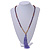 Long Wood, Glass, Seed Beaded Necklace with Silk Tassel (Nude, Purple, Lavender, Brown) - 80cm L/ 11cm Tasse - view 2