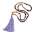 Long Wood, Glass, Seed Beaded Necklace with Silk Tassel (Nude, Purple, Lavender, Brown) - 80cm L/ 11cm Tasse - view 3