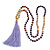 Long Wood, Glass, Seed Beaded Necklace with Silk Tassel (Nude, Purple, Lavender, Brown) - 80cm L/ 11cm Tasse - view 4