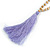 Long Wood, Glass, Seed Beaded Necklace with Silk Tassel (Nude, Purple, Lavender, Brown) - 80cm L/ 11cm Tasse - view 5
