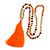 Long Wood, Glass, Seed Beaded Necklace with Silk Tassel (Nude, Orange, Brown) - 80cm L/ 11cm Tassel - view 4