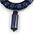 Statement Chunky Bone and Wood Bead with Black Rubber Cord Necklace In Dark Blue/ Violet - 48cm Long - view 3