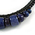 Statement Chunky Bone and Wood Bead with Black Rubber Cord Necklace In Dark Blue/ Violet - 48cm Long - view 4