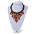 Statement Multicoloured Wood Bead Fringe with Rubber Cord Necklace - 46cm L/ 11cm Front Drop - view 2