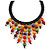 Statement Multicoloured Wood Bead Fringe with Rubber Cord Necklace - 46cm L/ 11cm Front Drop - view 3