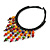 Statement Multicoloured Wood Bead Fringe with Rubber Cord Necklace - 46cm L/ 11cm Front Drop - view 4