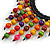 Statement Multicoloured Wood Bead Fringe with Rubber Cord Necklace - 46cm L/ 11cm Front Drop - view 5