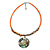 Orange Glass Bead Wire Necklace with Shell & Mother of Pearl Medallion In Silver Tone - 50cm L/ 5cm Ext