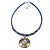 Royal Blue Glass Bead Wire Necklace with Shell & Mother of Pearl Medallion In Silver Tone - 50cm L/ 5cm Ext