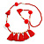 Boho Style Glass Beaded Pom Pom, Tassel Long Necklace In Red - 90cm L - view 8
