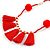 Boho Style Glass Beaded Pom Pom, Tassel Long Necklace In Red - 90cm L - view 3