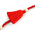 Boho Style Glass Beaded Pom Pom, Tassel Long Necklace In Red - 90cm L - view 6