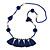 Boho Style Glass Beaded Pom Pom, Tassel Long Necklace In Dark Blue - 90cm L
