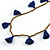 Boho Style Bronze Glass Bead with Dark Blue Tassel Long Necklace - 96cm L - view 3