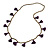 Boho Style Bronze Glass Bead with Purple Cotton Tassel Long Necklace - 96cm L