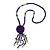 Inky Blue Wood, Glass, Sea Shell, Tree Seed Bead with Pom Pom Tassel Long Necklace - 80cm L/ 16cm Tassel