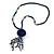 Dark Blue Wood, Glass, Sea Shell, Tree Seed Bead with Pom Pom Tassel Long Necklace - 80cm L/ 16cm Tassel - view 8