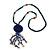 Dark Blue Wood, Glass, Sea Shell, Tree Seed Bead with Pom Pom Tassel Long Necklace - 80cm L/ 16cm Tassel