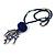 Dark Blue Wood, Glass, Sea Shell, Tree Seed Bead with Pom Pom Tassel Long Necklace - 80cm L/ 16cm Tassel - view 3
