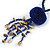 Dark Blue Wood, Glass, Sea Shell, Tree Seed Bead with Pom Pom Tassel Long Necklace - 80cm L/ 16cm Tassel - view 4