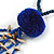Dark Blue Wood, Glass, Sea Shell, Tree Seed Bead with Pom Pom Tassel Long Necklace - 80cm L/ 16cm Tassel - view 5