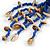 Dark Blue Wood, Glass, Sea Shell, Tree Seed Bead with Pom Pom Tassel Long Necklace - 80cm L/ 16cm Tassel - view 6