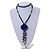 Dark Blue Wood, Glass, Sea Shell, Tree Seed Bead with Pom Pom Tassel Long Necklace - 80cm L/ 16cm Tassel - view 2