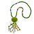 Lime Green Wood, Glass, Sea Shell, Tree Seed Bead with Pom Pom Tassel Long Necklace - 80cm L/ 16cm Tassel
