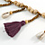 Long Natural Wood, Bronze Glass Bead with Purple Cotton Tassel Necklace - 100cm L - view 5