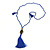 Blue Crystal Bead Necklace with Bronze Tone Hamsa Hand Charm/ Silk Tassel Pendant - 80cm L/ 14cm Tassel
