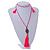 Deep Pink Crystal Bead Necklace with Bronze Tone Hamsa Hand Charm/ Silk Tassel Pendant - 80cm L/ 14cm Tassel - view 2