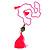 Deep Pink Crystal Bead Necklace with Bronze Tone Hamsa Hand Charm/ Silk Tassel Pendant - 80cm L/ 14cm Tassel - view 3