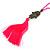 Deep Pink Crystal Bead Necklace with Bronze Tone Hamsa Hand Charm/ Silk Tassel Pendant - 80cm L/ 14cm Tassel - view 4