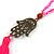 Deep Pink Crystal Bead Necklace with Bronze Tone Hamsa Hand Charm/ Silk Tassel Pendant - 80cm L/ 14cm Tassel - view 5