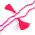 Deep Pink Crystal Bead Necklace with Bronze Tone Hamsa Hand Charm/ Silk Tassel Pendant - 80cm L/ 14cm Tassel - view 6