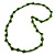 Long Lime Green Wood Button Bead Necklace - 110cm Long - view 3