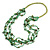 Long Multistrand Light Green/ Grass Green Shell/ Glass Bead Necklace - 76cm L