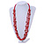 Long Multistrand Red Shell/ Glass Bead Necklace - 76cm L - view 2