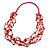 Long Multistrand Red Shell/ Glass Bead Necklace - 76cm L - view 3