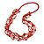 Long Multistrand Red Shell/ Glass Bead Necklace - 76cm L