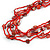 Long Multistrand Red Shell/ Glass Bead Necklace - 76cm L - view 4