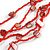 Long Multistrand Red Shell/ Glass Bead Necklace - 76cm L - view 5