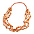 Long Multistrand Orange Shell/ Glass Bead Necklace - 76cm L - view 3