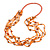 Long Multistrand Orange Shell/ Glass Bead Necklace - 76cm L