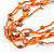 Long Multistrand Orange Shell/ Glass Bead Necklace - 76cm L - view 4
