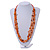 Long Multistrand Orange Shell/ Glass Bead Necklace - 76cm L - view 2